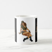 army, military, pinup, girl, woman, wife, wives, boots, camo, Mug with custom graphic design