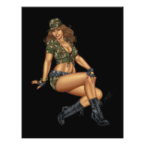 army, military, pinup, wife, reserves, girl, rio, camo, boots, Flyer with custom graphic design