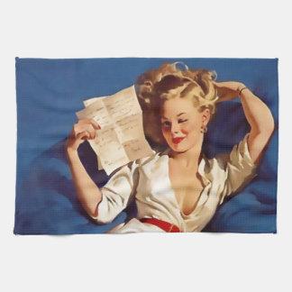Pinup girl toalhas de mão