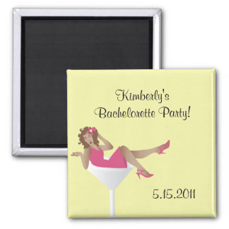Pinup girl/martini glass bachelorette party mag... 2 inch square magnet