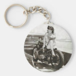 PINUP GIRL ON MOTORCYCLE. BASIC ROUND BUTTON KEYCHAIN
