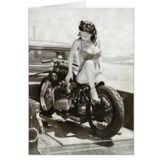 PINUP GIRL ON MOTORCYCLE. CARD