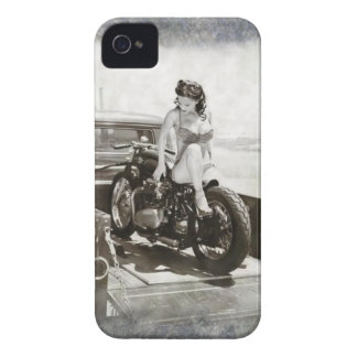 PINUP GIRL ON MOTORCYCLE. iPhone 4 COVER