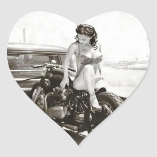 PINUP GIRL ON MOTORCYCLE HEART STICKER