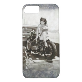 PINUP GIRL ON MOTORCYCLE. iPhone 8/7 CASE