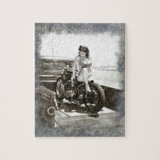 PINUP GIRL ON MOTORCYCLE JIGSAW PUZZLE