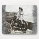 PINUP GIRL ON MOTORCYCLE. MOUSE PAD