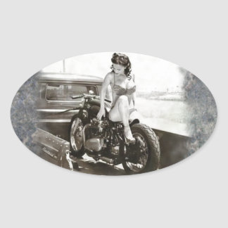 PINUP GIRL ON MOTORCYCLE OVAL STICKER
