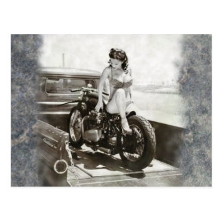 PINUP GIRL ON MOTORCYCLE. POSTCARD