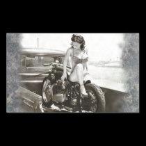 PINUP GIRL ON MOTORCYCLE RECTANGULAR STICKER