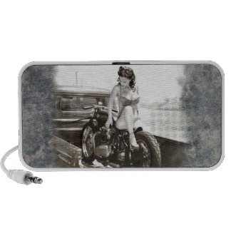 PINUP GIRL ON MOTORCYCLE TRAVEL SPEAKER