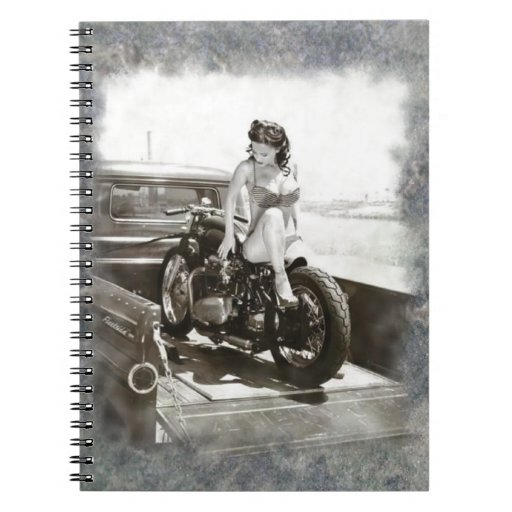 PINUP GIRL ON MOTORCYCLE SPIRAL NOTEBOOKS