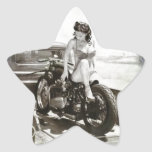 PINUP GIRL ON MOTORCYCLE STAR STICKER