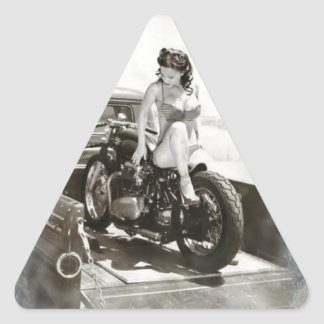 PINUP GIRL ON MOTORCYCLE TRIANGLE STICKER