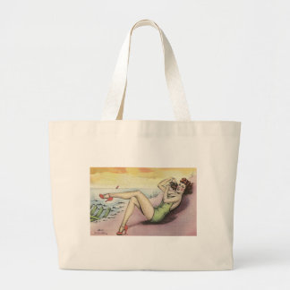 Pinup Girl on the Beach Large Tote Bag