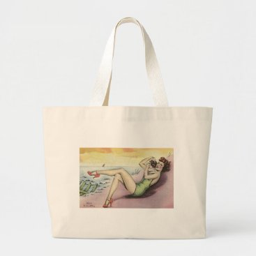 Beach Themed Pinup Girl on the Beach Large Tote Bag