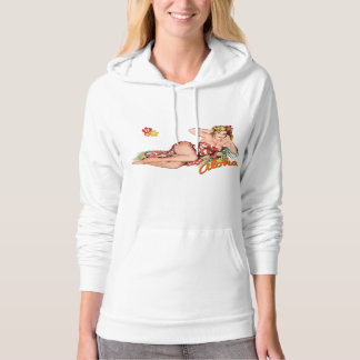 Pinup Girl Pretty, Sexy Island Blonde. Hooded Pullover