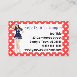 Pinup business cards templates zazzle pinup girl retro dots rockabilly business card colourmoves