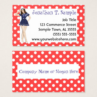 Pinup Girl Retro Dots Rockabilly Business Card