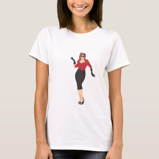 Pinup girl wearing red T-Shirt