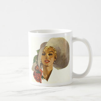 Pinup Girl with Large Summer Sun Hat Coffee Mug