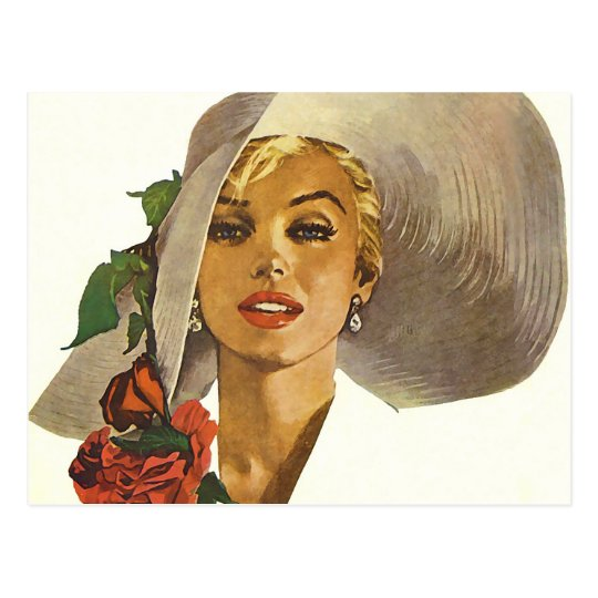 Pinup Girl with Large Summer Sun Hat Postcard