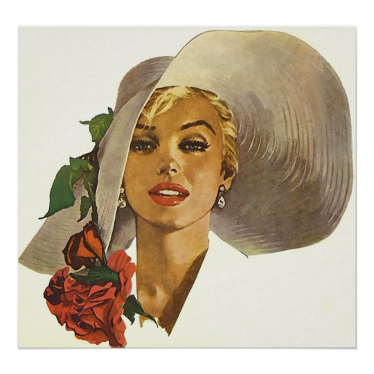 Pinup Girl with Large Summer Sun Hat Poster
