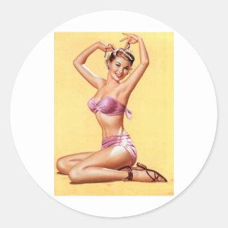pinup girl world war 2 style nose art vintage classic round sticker