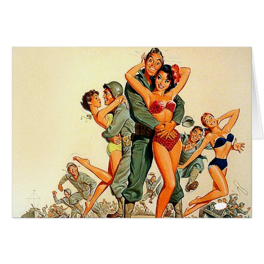 Pinup Girls and Army Guys Card