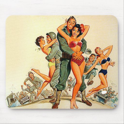 Pinup Girls and Army Guys Mouse Pad