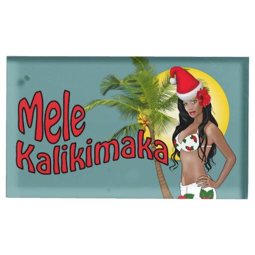Pinup Mele Kalikimaka Christmas Table Card Holder Zazzle