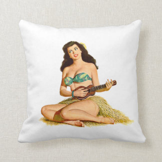 Pinup Pin up playing guitar in bikini Throw Pillow
