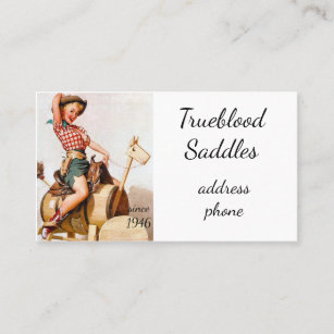 Pin up girl business cards templates zazzle pinup saddle business card colourmoves