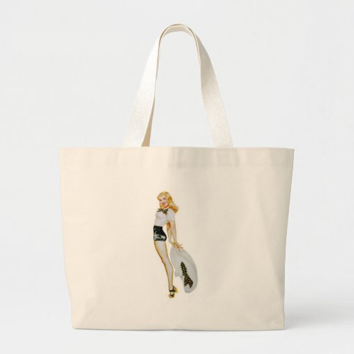 Pinup With Big Hat Tote Bags