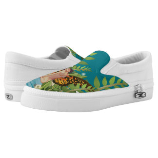Pinup Woman Butterfly Garden Slip Zip Shoes Printed Shoes