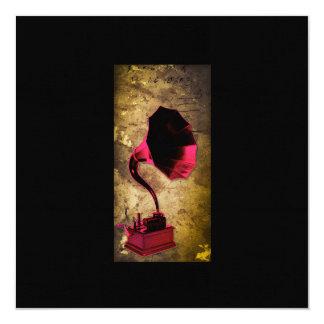 """Pinups del vintage, música y imagen 1 de los invitación 5.25"""" x 5.25"""""""