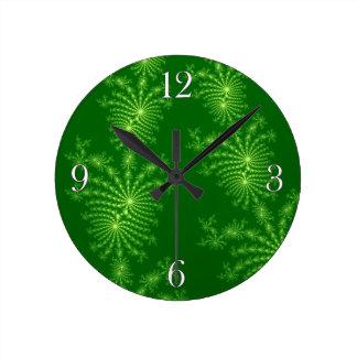 Pinus Green Julia Fractal Abstract Art Wall Clock