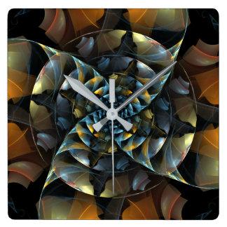 Pinwheel Abstract Art Square Square Wall Clock