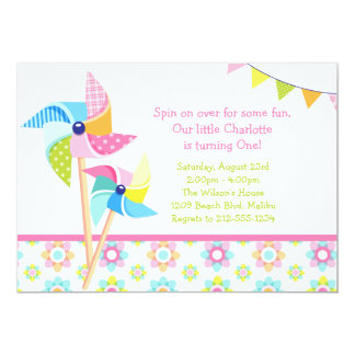 "Pinwheel Birthday Party 5"" X 7"" Invitation Card"