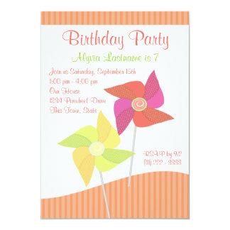 Pinwheel Birthday Party 5x7 Paper Invitation Card