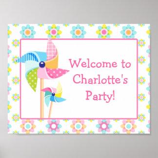 Pinwheel Birthday Party Sign