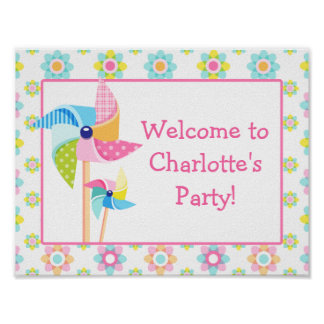 Pinwheel Birthday Party Sign Poster