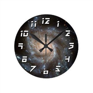 Pinwheel galaxy round clock
