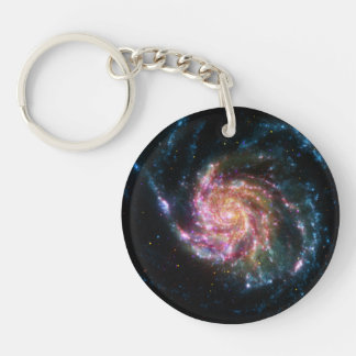 Pinwheel Galaxy Spiral Space Double-Sided Round Acrylic Keychain