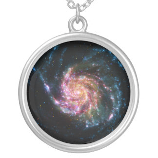 Pinwheel Galaxy Spiral Space Round Pendant Necklace