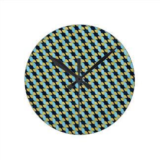 Pinwheel Geo Pattern Round Clock