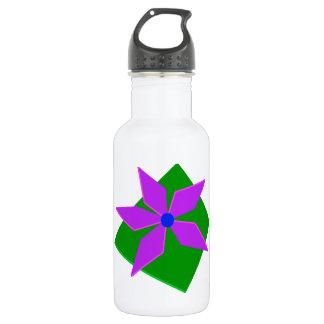 PINWHEEL, green and purple Water Bottle