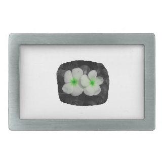 Pinwheel green circle  flower cutout rectangular belt buckle