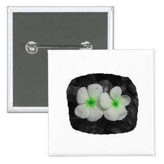 Pinwheel green circle  flower cutout pinback button