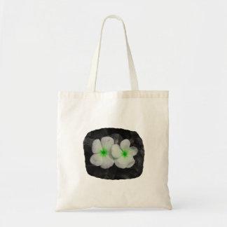 Pinwheel green circle  flower cutout canvas bags